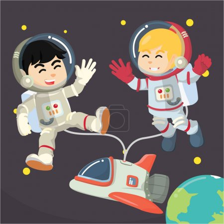Boy and girls astronaut floating in space .eps10 f...