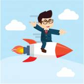 businessman sitting on top of a rocket flying in the air