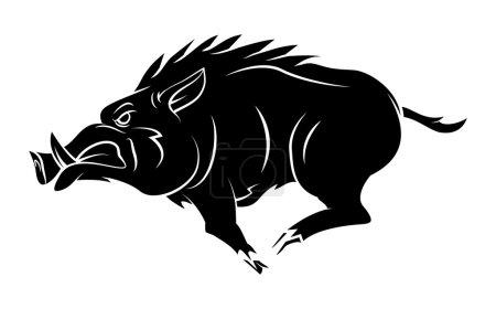 Illustration pour Mascotte de Tatouage Sanglier - image libre de droit