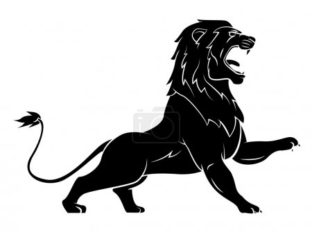 Illustration for Black Silhouette Of Lion - Royalty Free Image