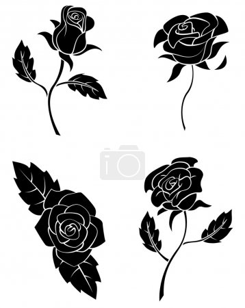 Illustration for Black Silhouette Collection Of Rose Flower - Royalty Free Image