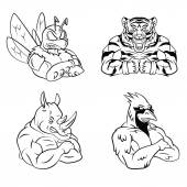 BeeTigerRhino and Bird Mascot Collection isolated on white backgroundSet Vector  illustration