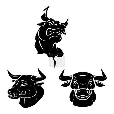 Bull Heads Tattoo set