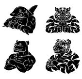 SharkTigers and Panther Tattoo Collection isolated on white backgroundSet Vector  illustration