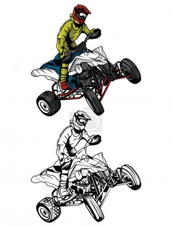 Coloring book ATV moto rider cartoon character