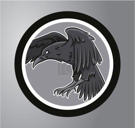 Illustration pour Sticker Cercle de corbeaux - image libre de droit