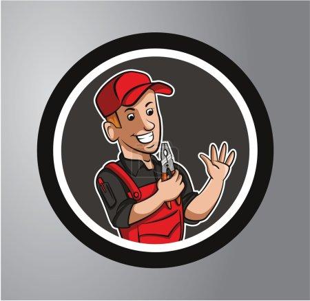 Illustration pour Autocollant Technicien Cercle - image libre de droit