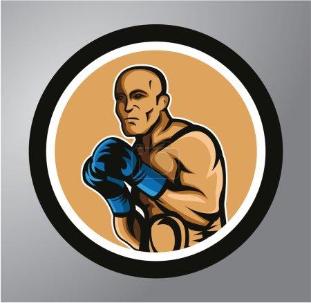 Illustration pour Autocollant de cercle de boxeurs - image libre de droit