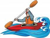 Kayaking vector illustration design