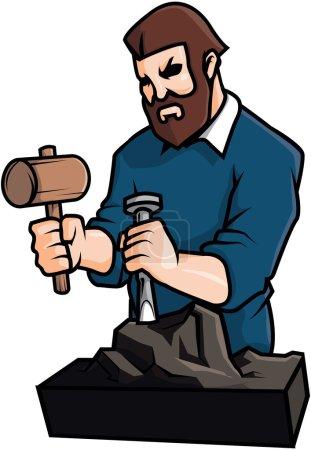 Illustration pour Sculpter homme vectoriel illustration design - image libre de droit