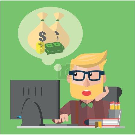 Illustration for Business man dreaming vector illustration design - Royalty Free Image