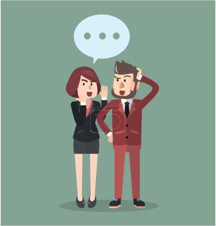 Illustration for Business man gossip  flat design illustration - Royalty Free Image