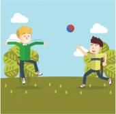 Boy playing volley ball  eps10 vector illustration design