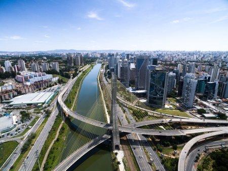 Estaiada Bridge and Skyscrapers in Sao Paulo