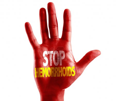 Stop Hemorrhoids written on hand