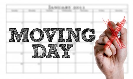 Photo for Hand writing the text: Moving Day - Royalty Free Image