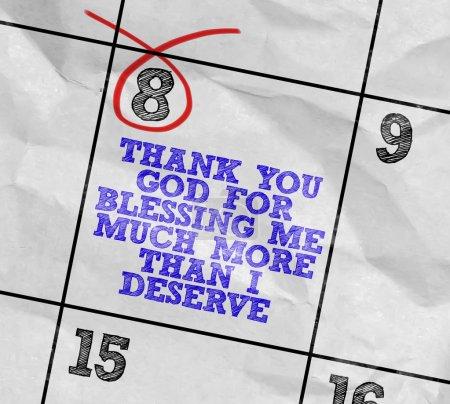 Photo pour Image de la notion d'un calendrier avec le rappel : Merci Dieu pour bénédiction moi beaucoup plus que je mérite - image libre de droit