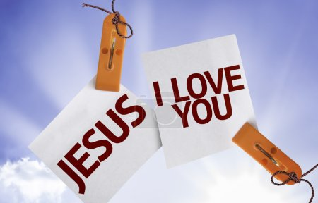Photo for Jesus I Love You on Paper Note on sky background - Royalty Free Image