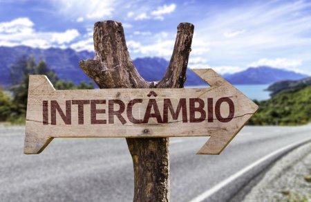 Photo pour Programme d'échange (en portugais) panneau en bois avec fond de paysage - image libre de droit