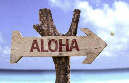 Photo pour Aloha panneau en bois avec un fond de nature - image libre de droit