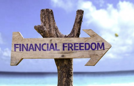 Financial Freedom  wooden sign