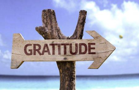 Photo pour Panneau en bois de gratitude avec fond naturel - image libre de droit