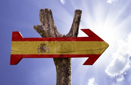 Spain wooden sign