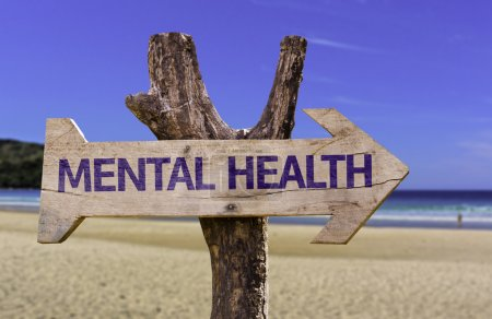 Photo for Mental Health wooden sign with a beach on background - Royalty Free Image