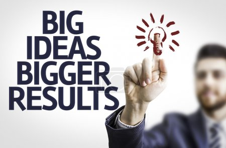 Photo for Business man with the text Big Ideas Bigger Results in a concept image - Royalty Free Image