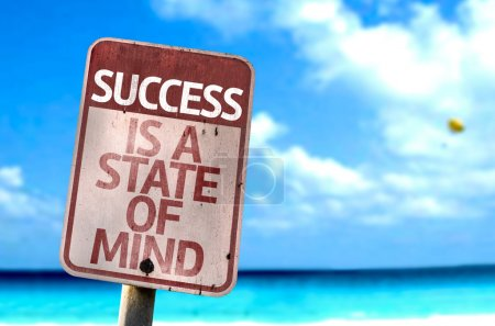 Photo for Success Is A State of Mind sign with a beach on background - Royalty Free Image