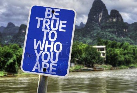 Photo pour Être True To Who You Are signe avec un fond de forêt - image libre de droit
