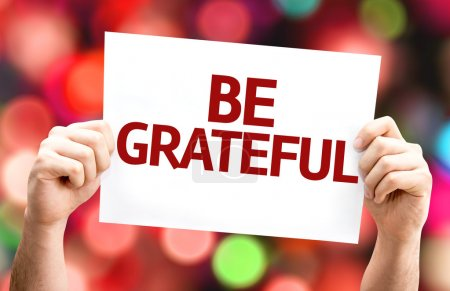 Photo for Be Grateful card with colorful background with defocused lights - Royalty Free Image