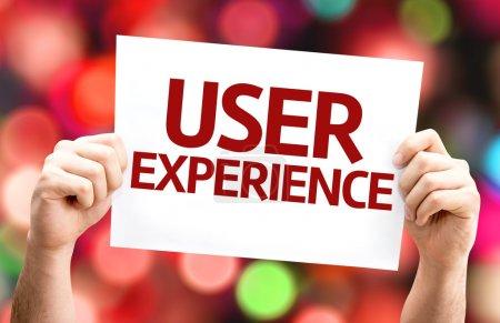 Photo pour Carte d'expérience utilisateur avec fond coloré avec des lumières déconcentrées - image libre de droit