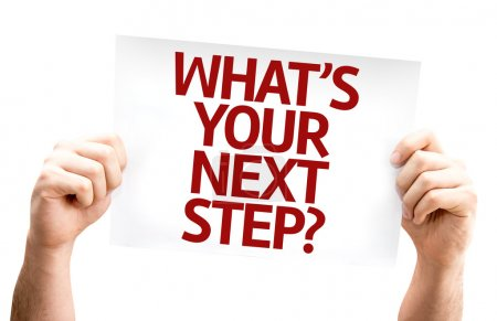 Photo for What's Your Next Step? card isolated on white background - Royalty Free Image