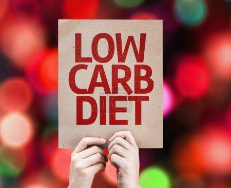 Photo pour Low Carb Diet card with colorful background with defocused lights - image libre de droit