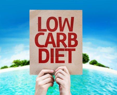Photo pour Low Carb Diet card with a beach on background - image libre de droit