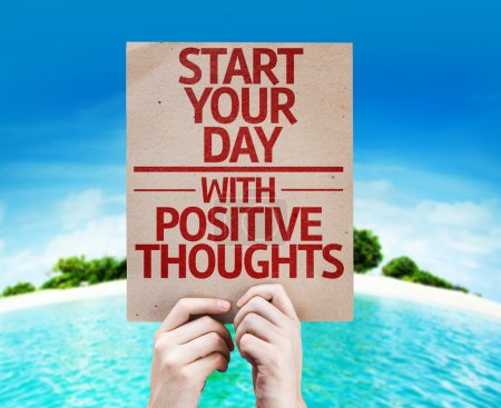 Photo for Start your Dat with Positive Thoughts card with a beach on background - Royalty Free Image