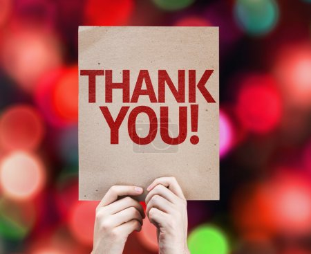 Photo for Thank You card with colorful background with defocused lights - Royalty Free Image