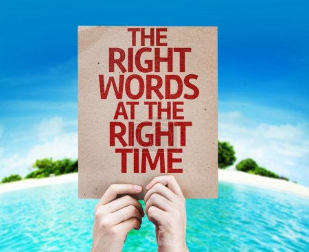 Photo for The Right Words At The Right Time card with a beach on background - Royalty Free Image