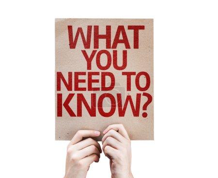 Photo pour Ce que vous devez savoir ? carte isolée sur fond blanc - image libre de droit