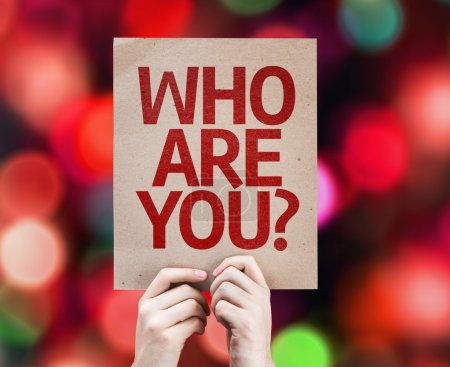 Photo for Who Are You? card with colorful background with defocused lights - Royalty Free Image