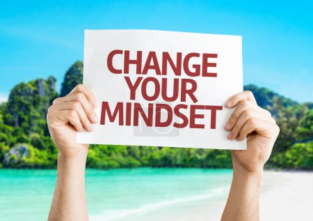Photo for Change your Mindset card with a beach on background - Royalty Free Image