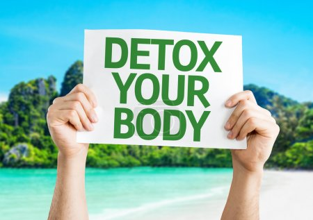 Photo for Detox Your Body card with a beach on background - Royalty Free Image