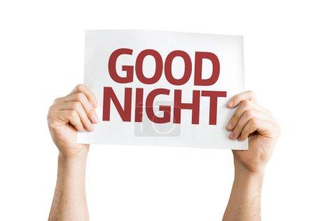 Photo pour Carte Bonne Nuit isolée sur fond blanc - image libre de droit