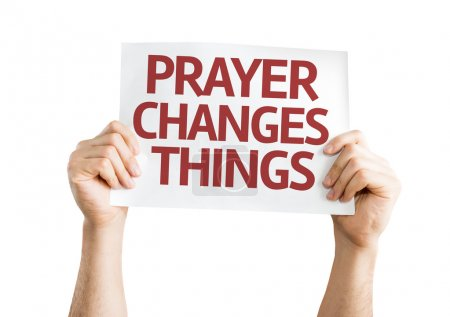 Photo for Prayer Changes Things card in hands isolated on white background - Royalty Free Image
