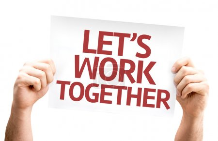 Photo for Let's Work Together card isolated on white background - Royalty Free Image