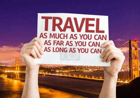 Photo pour Travel As Much.Far.Long As You Can card with Golden Gate Bridge background - image libre de droit