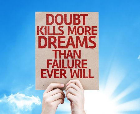 Photo for Doubt Kills More Dreams Than Failure Ever Will card with sky background - Royalty Free Image