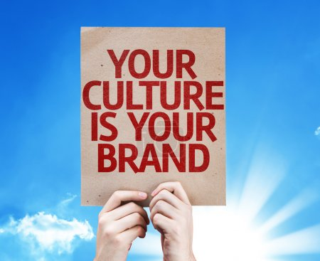 Photo for Your Culture is Your Brand card with sky background - Royalty Free Image