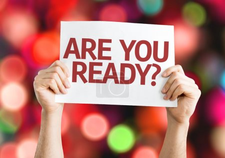 Photo for Are You Ready? card with colorful background with defocused lights - Royalty Free Image